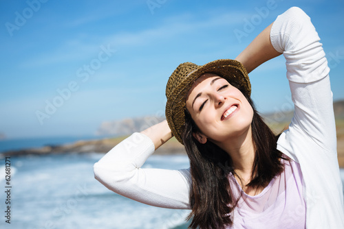 Woman relax on coast vacation travel