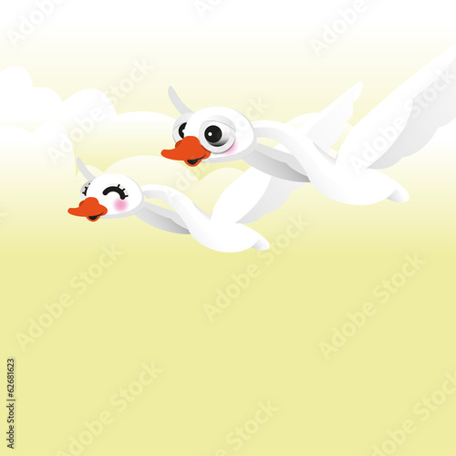 swan flying. Vector illustration