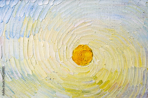 Art canvas with sun on the whirlpool sky. Artistic elements