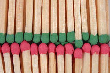 Red and green match background