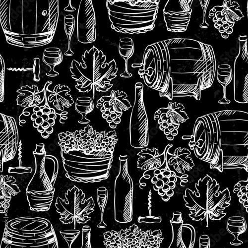 Wine seamless pattern drawn by chalk.