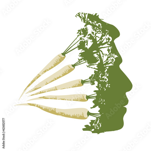 Illustration of vegetable man. made from green herbs.