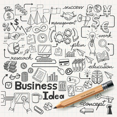 Business Idea doodles icons set. Vector illustration.