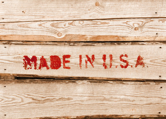 Made in USA. Red label on wooden box side