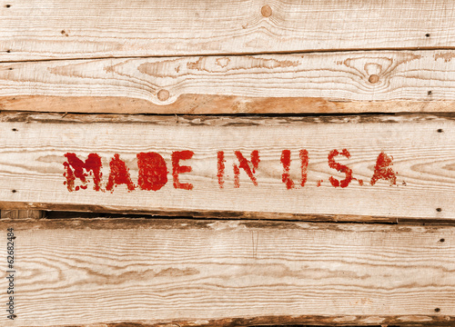 Made in USA. Red label on wooden box side Poster