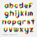 Fototapety Polygon alphabet colorful font style. Vector illustration.