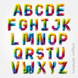 Fototapety Polygon alphabet colorful font style. Vector illustration.