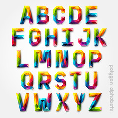 Polygon alphabet colorful font style. Vector illustration.