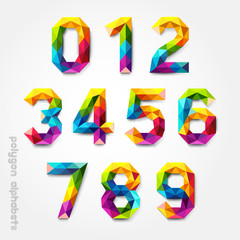 Polygon number alphabet colorful font style. Vector illustration