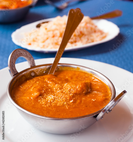 Indian chicken masala metal bowl