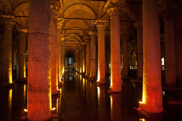 ancient cistern in Istanbul, Turkey