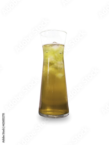Glass of Ice green tea isolated on white background
