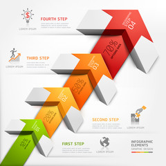 3d arrow staircase diagram business step options.