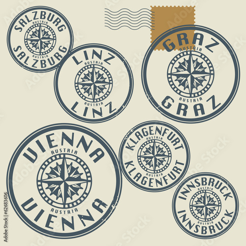 Grunge rubber stamp set with names of Austria cities