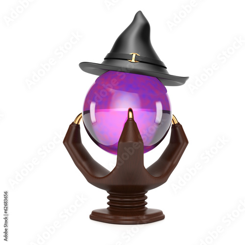 Crystal ball and witch hat