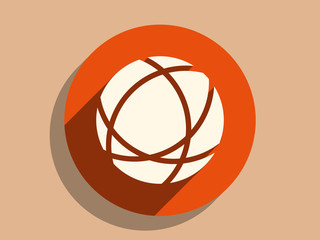 Flat long shadow icon of globe