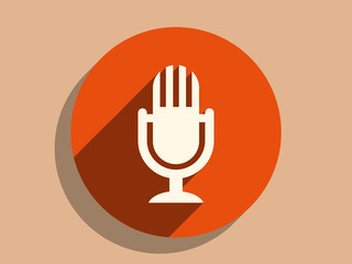 Flat long shadow icon of mic