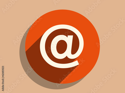 Flat long shadow icon of email