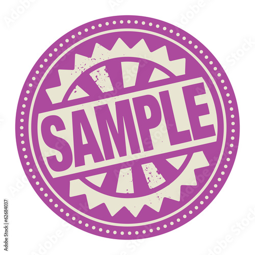 Abstract stamp or label with the text Sample written inside
