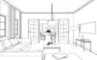 Zeichnung moderne Wohnung