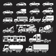 Cars icons white color set. Vector illustration.