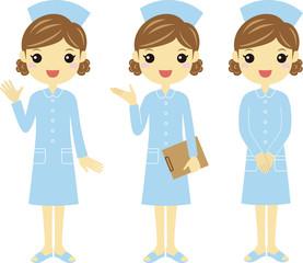 色々なポーズの青いユニフォームの看護婦さん