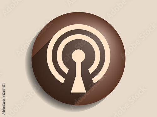 Flat long shadow icon of wifi