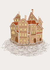 Fairy tale medieval city like home nest. metaphor for cartoon