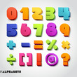 3D alphabet number colorful. Vector illustration.