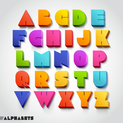 3D alphabet colorful font style. Vector illustration.