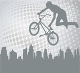 bmx cyclist silhouette on the abstract background - vector