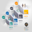 3d staircase diagram modern business steb options. Vector illust
