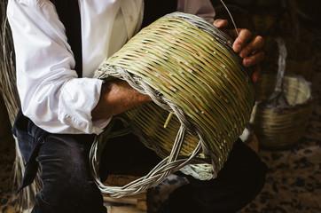 Handmade basket, traditional crafts of Sardinia, Italy