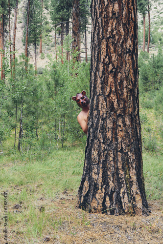 A Man Standing Behind A Ponderosa Pine Tree, Peering Around The Trunk Wearing A Bear Mask.