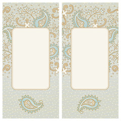 Vintage greeting card with swirls and floral motifs