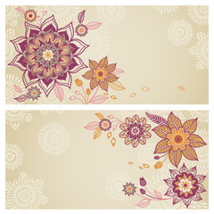 Vintage greeting cards with swirls and floral motifs