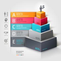 3d staircase diagram modern business steb options. Vector illust