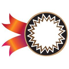vector  sticker  ,black,brown, ethnic, red ribbon