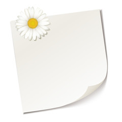 Notizzettel mit Margeritenblüte
