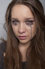 Young woman crying