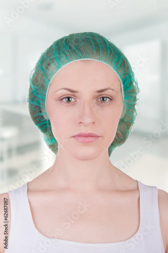 portrait of a girl in a medical cap