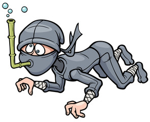 Vector illustration of Cartoon Ninja