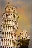 Pisa - piazza dei miracoli, la torre e i putti poster
