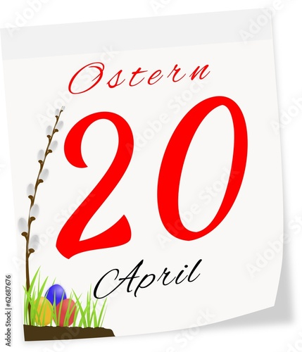 Calendar page with date of Easter-20.04.2014 in German
