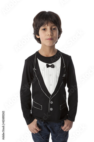 Well dressed eight year old boy