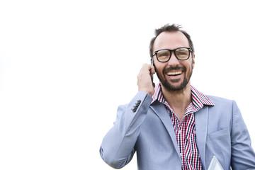 Deutschland, Bayern, Unternehmer sprechen Handy