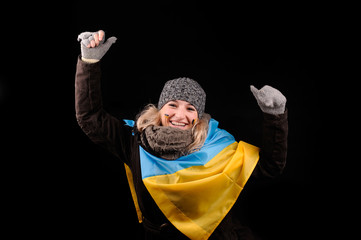 Portrait of attractive girl with ukrainian flag
