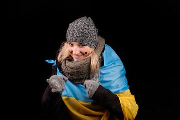 Portrait of attractive girl with ukrainian flag