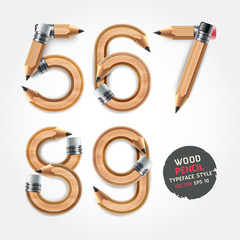 Wood pencil numbers alphabet style. Vector illustration.