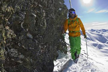 Österreich, Nord-Tirol, Senior Skifahren